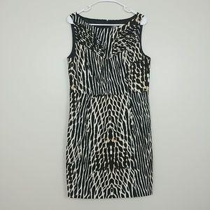 Vince Camuto Animal Sheath Dress Back Zip 14 #3251